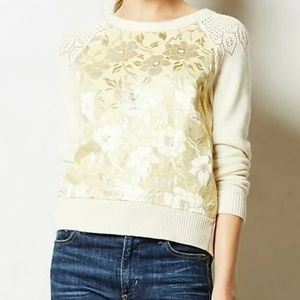 Anthro Monogram Gold Leaf Pullover S Ivory